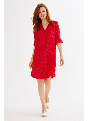 Just like you Önden Düğmeli Midi Elbise Kırmızı